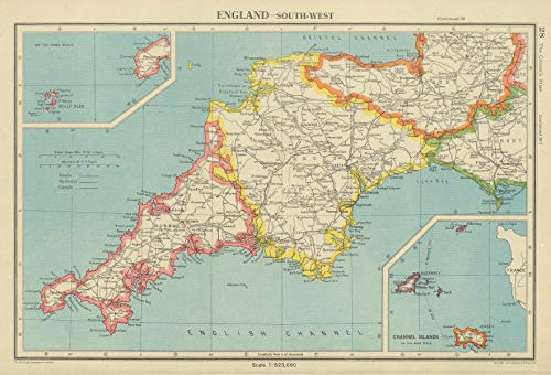 - South WEST England. Devon & Cornwall. Bartholomew - 1947 - Old map - Antique map - Vintage map - Printed maps of England