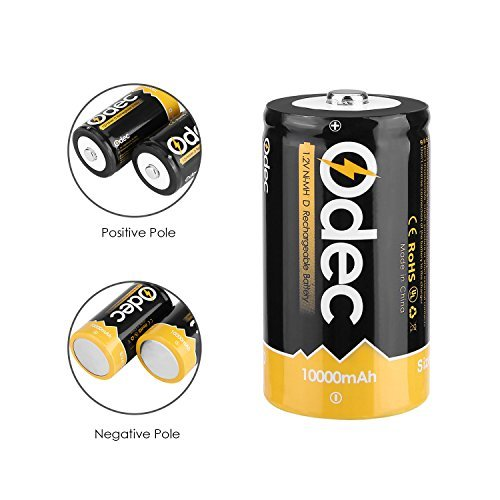 Odec D Battery, 10000mAh Ni-MH Rechargeable Battery Pack (6-Pack)