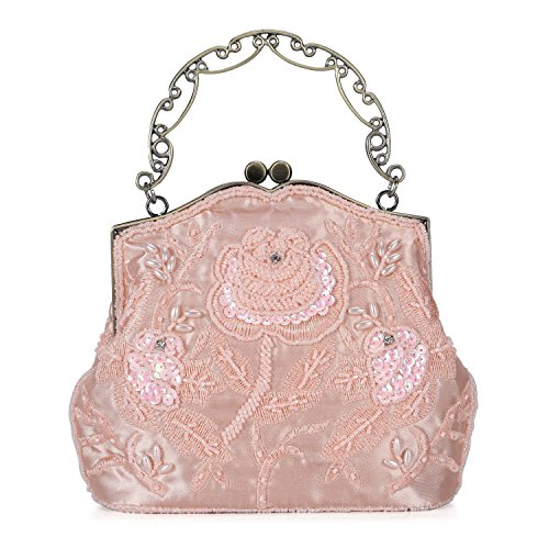 Chichitop Women's Vintage Flower Beaded Sequin Evening Clutch Wedding Purse Party Bags (Pink) by Chichitop
