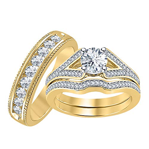 RUDRAFASHION Round Cut White CZ Diamond 14k Yellow Gold Plated Engagement Curved Band Wedding Bridal Ring Set for Men's & Women's 14k White Gold Cz Rings