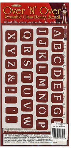 Armour Over'n'Over Re-usable Glass Etching Stencils - Full Alphabet 1 pcs sku# 1874451MA