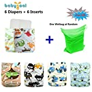 Babygoal Baby Reuseable Washable Pocket Minky Cloth Diaper, baby boy clothes, 6pcs diapers+ 6 Inserts 6fb11