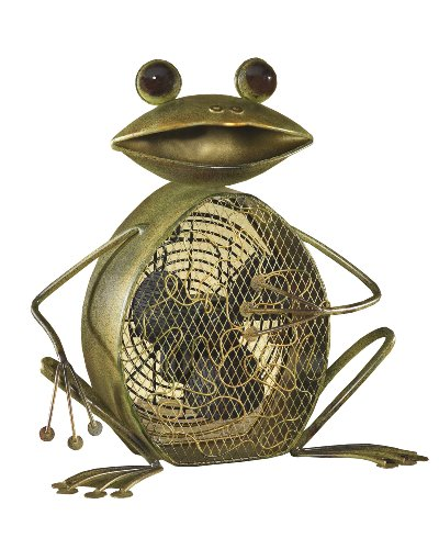 Two Speed Electric Circulating Figurine Fan, 7 in, Frog (Frog Decorative Fan)