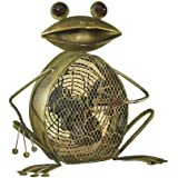 DecoBREEZE Green Frog Figurine Fan Two-Speed Electric Circulating Fan
