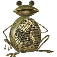 DecoBREEZE Table Fan Two-Speed Electric Circulating Fan, Green Frog Figurine Fan