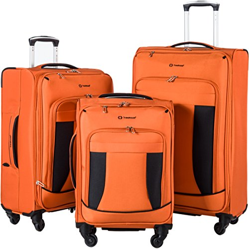 Travelhouse 3 Piece Luggage Set Softshell Deluxe Expandable Spinner Suitcase (Orange and Black)