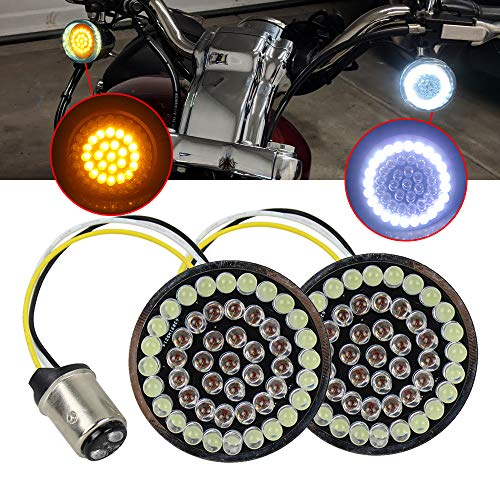 Pair 2 inch 1157 Bullet Front Turn Signals LED Lights Panel Compatible with Harley Dyna Street Glide Road King(50MM diameter)
