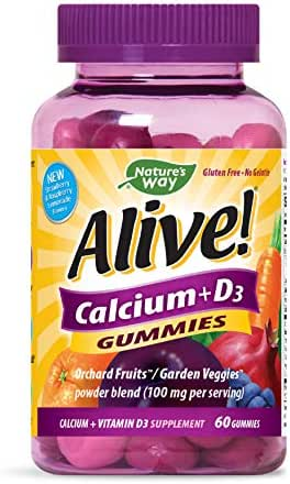 Nature's Way Alive! Premium Calcium + D3 Gummy + Orchard Fruits/Garden Veggies Blend, 60 Cherry & Strawberry Gummies