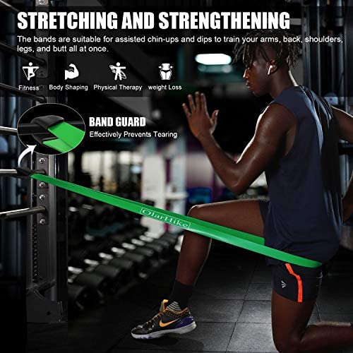 OlarHike Resistance Pull Up Bands Set, Exercise Workout Bands for Women & Men with 2 Foam Handles, Band Guard, Door Anchor, for Working Out, Fitness 4