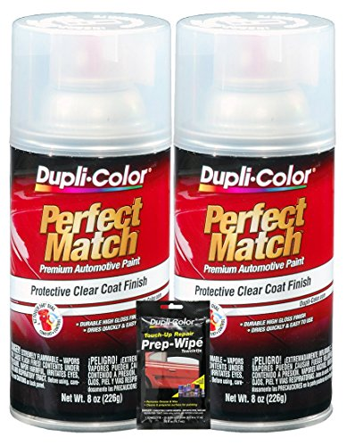 Wipe Clear Coat - Dupli-Color Clear Perfect Match Automotive Top Coat - 8 oz, Bundles with Prep Wipe (3 Items)