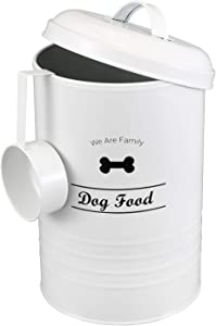 Morezi Circular Design Dog Treat and Food Storage Tin with Lid and Serving Scoop Included - Coated Carbon Steel - Tight Fitting Lids - Storage Canister Tins