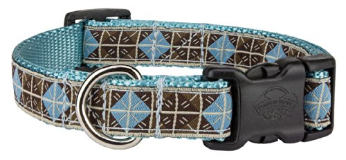 Country Brook Design | Deluxe Blue & Brown Diamond Woven Ribbon on Ocean Blue Dog Collar Limited Edition - Small