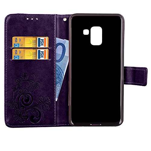 Wallet Case for Samsung Galaxy A8 Plus 2018,Shinyzone Embossed PU Leather Flip Cover Handmade Bling Sparkly Diamond with 3D Flower Magnetic Closure Elegant Cover,Purple by ShinyZone (Image #4)