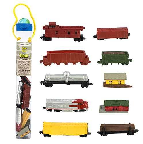 Safari Ltd Trains TOOB With 11 Connectable Hand Painted Figurines, Including Freight Station, Cargo Car, Log Car, Coal Car, Fuel Car, Coal, Train Engine, Passenger Station, Caboose, Cargo Car and Dump Car (Coal Station)