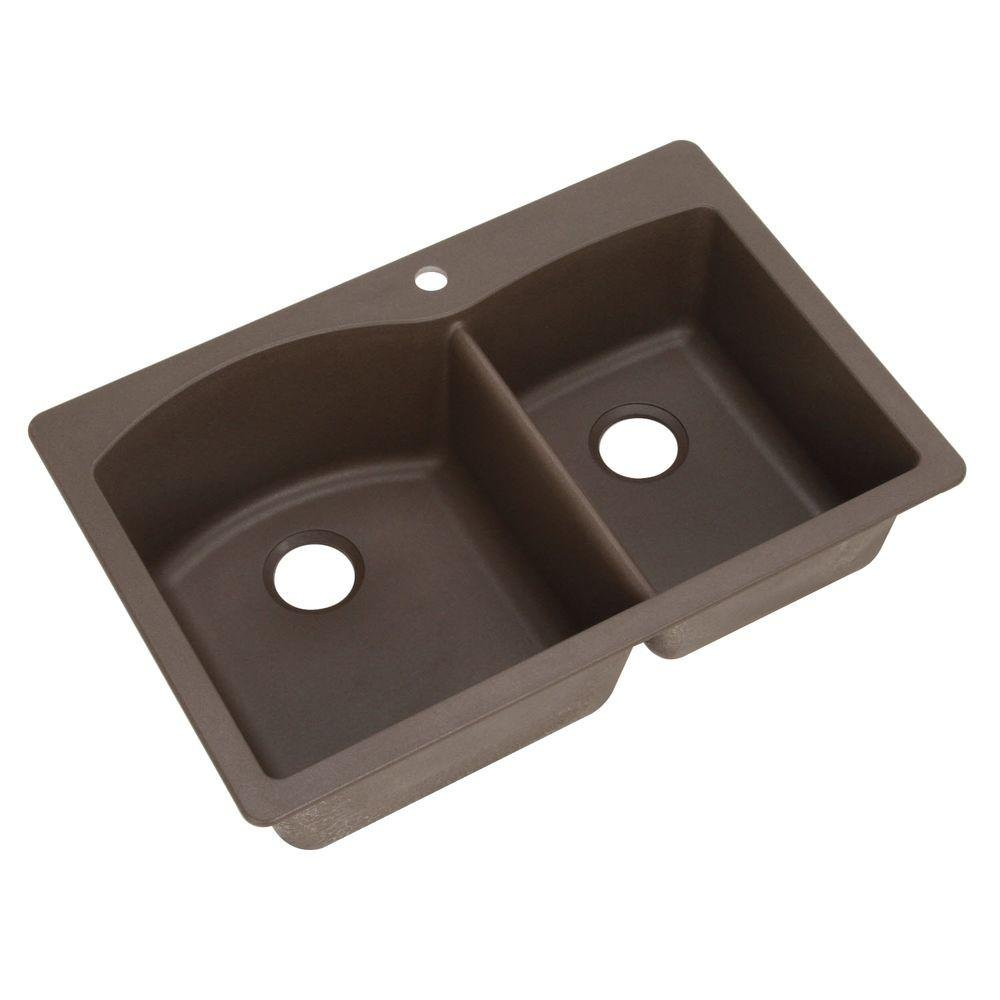 BCYLS kitchen sink Blanco Diamond Double Basin Drop In or Undermount Granite Kitchen Sink Cafe Brown Double Bowl Sinks Amazon com