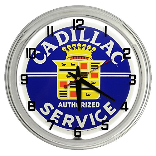 Cadillac Service White Neon clock from Redeye ()