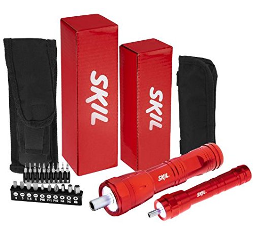 Skil Flashlight Screwdriver with Canvas Carrying Case (2 Pack of Red (1 Large & 1 (Skil Screws)