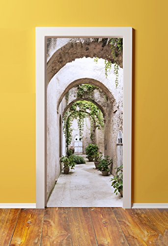 DoorPix 32x80 / 32 x 80'' 3D Door Mural Wrap Glossy Bubble Free Sticker Arched Pathway to Gardens - PEEL and STICK - Easy-to-clean, Durable by Windowpix