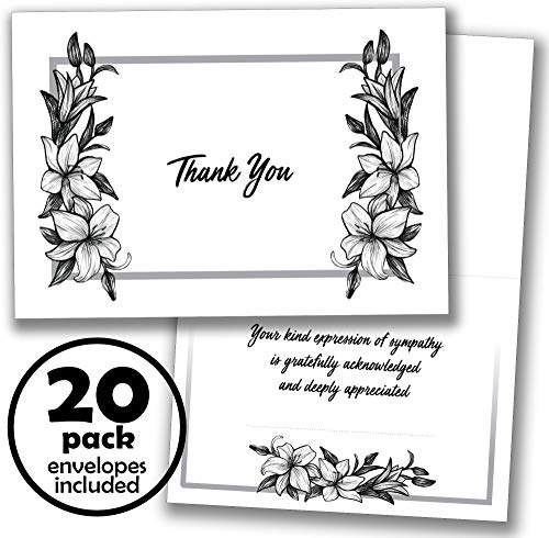20 Funeral Thank You Cards - Notes with Envelopes and Sympathy Acknowledgment Message Inside by Whatabee
