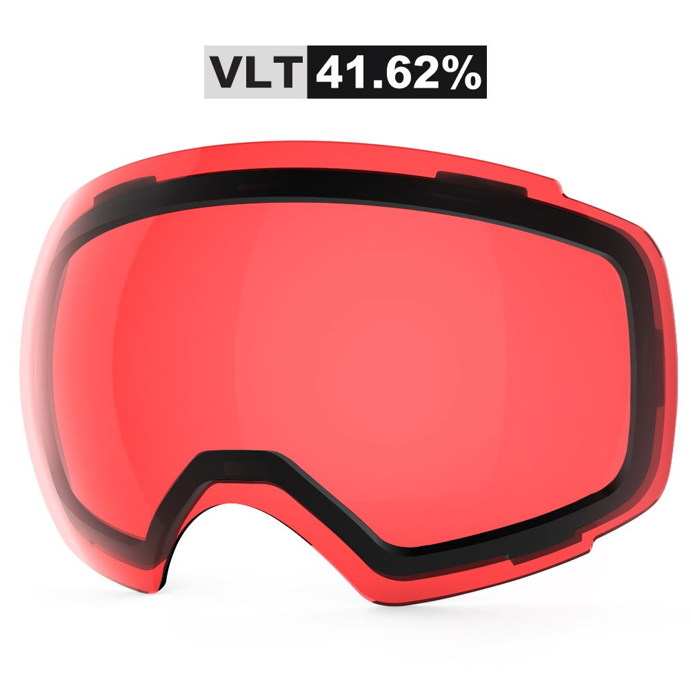ZIONOR Lagopus X4 Ski Snowboard Snow Goggles Replacement Lenses (VLT 41.62% Light Red Lens) by Zionor