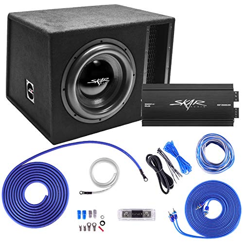 Skar Audio Single 12″ Complete 2,500 Watt EVL Series Subwoofer Bass Package – Includes Loaded Enclosure with Amplifier
