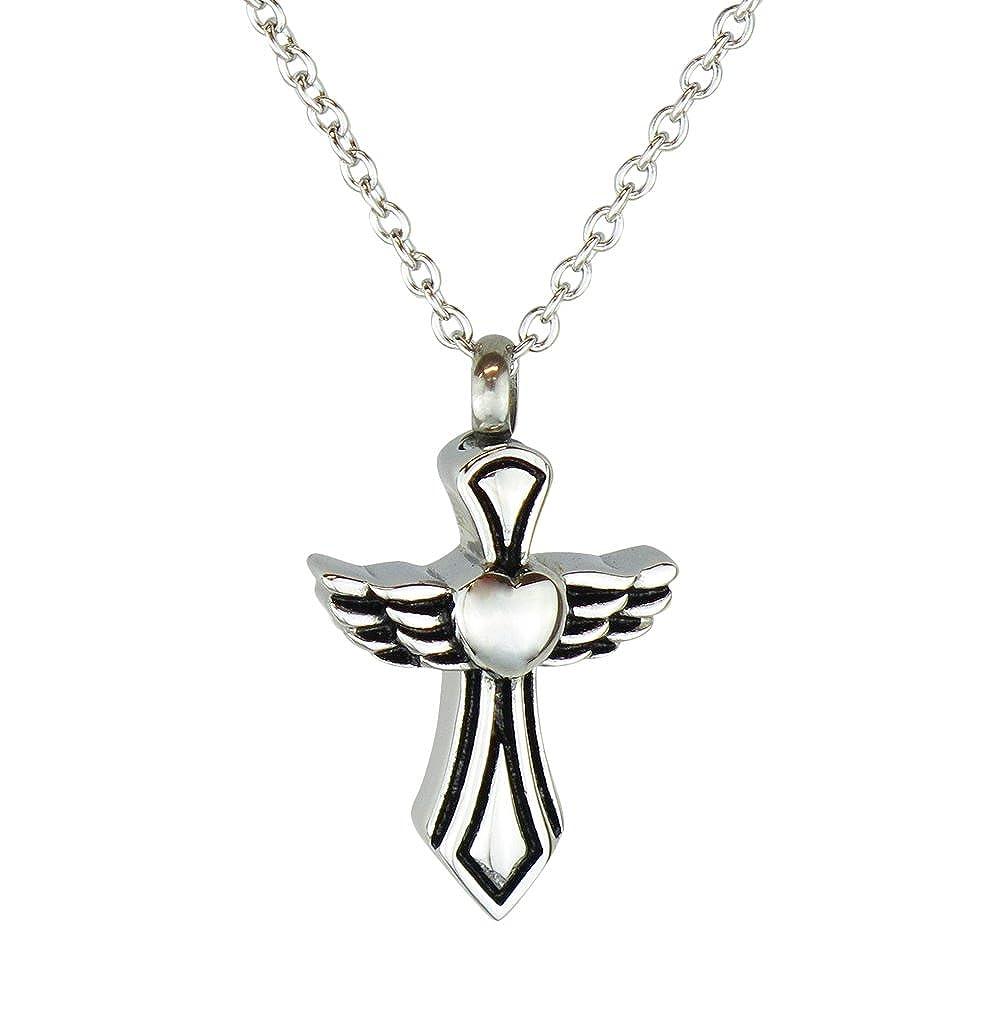 Love to Treasure cruz ángel de la guarda urna colgante - Memorial de la ceniza del recuerdo - Joyería cremación LTT17CP