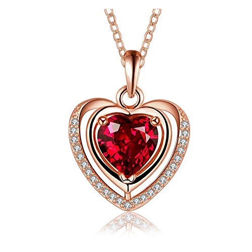 Victorian Music Hall Costumes (Yuriao Jewelry Love Heart-shaped Diamond Mmulticolored Sapphire Pendant Necklace)