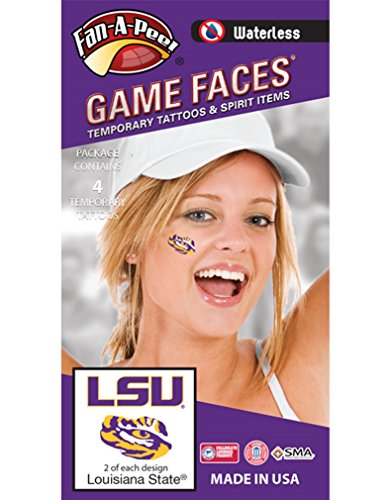LSU Tigers – Waterless Peel & Stick Temporary Spirit Tattoos – 4-Piece – 2 Purple/Gold LSU Logo & 2 Purple/Gold Tiger Eye Logo (Tattoos Waterless)