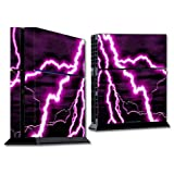 Mightyskins Protective Vinyl Skin Decal Cover for Sony PlayStation 4 PS4 Console wrap sticker skins Purple Lightning
