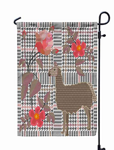 GROOTEY Welcome Outdoor Garden Flag Home Yard Decorative 12X18 Inches Creative Checkered Print Embroidered Roses Hounds Tooth Pattern English Motifs Textile School Double Sided Seasonal Garden Flags -