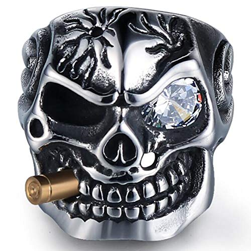 Jude Jewelers Vintage Stainless Steel Gothic Skull Smoking Bullet Biker Cocktail Party Ring (Clear Stone, 12)