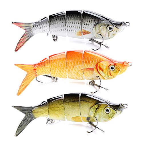 (VTAVTA Topwater Bass Fishing Lures Multi Jointed Trout Bait Crankbaits Popper Life-Like Fish Tackle Kits (Combo-1))