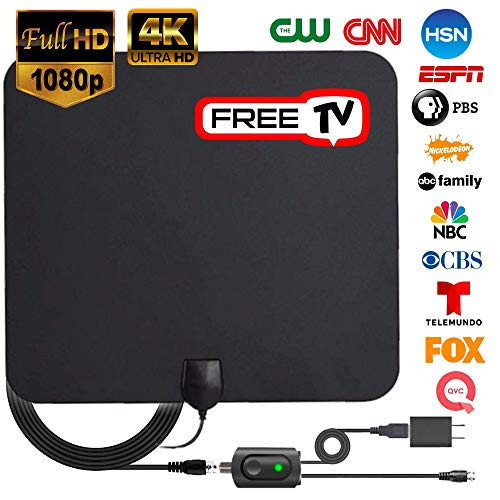 Digital TV Antenna with Long 60-80 Miles Range【2018 Upgraded】 HDTV Digital Antennas 4K with Amplifier Signal. Support All TV's for Indoor with Powerful HD TV Amplifier Signal Booster - 16ft Cable by Casual Accessories