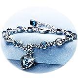RONLLNA Love Heart Ocean Blue Crystal Bracelet for Women and Teens Sapphire Birthstone Charm Eternal Love Bangle