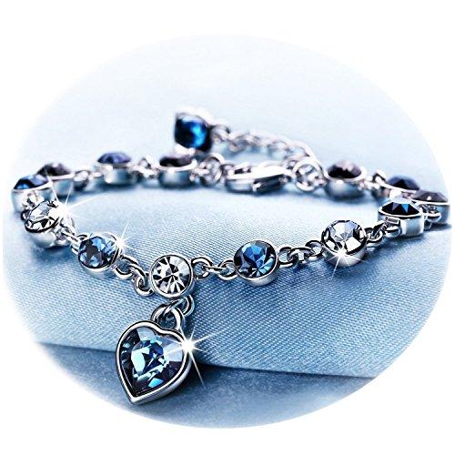 (RONLLNA Bracelet for Women and Teens Birthstone Charm Eternal Love Crystal Jewelry for Women Girl (Love Heart Bracelet))
