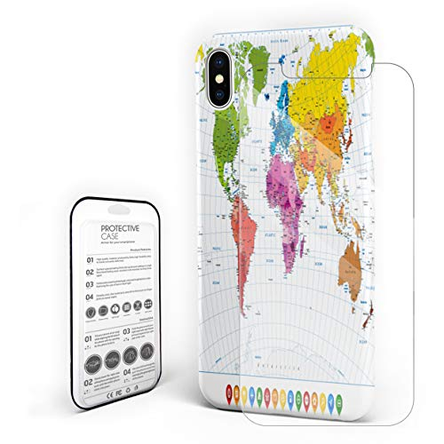 Phone Case for iPhone 7 Plus/8 Plus Case Cover, High Detailed Political World Map with Flat Icons and Globes, Protective Shockproof Anti-Scratch Back Case with Tempered Glass Screen Protector ()