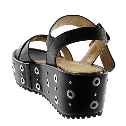 Mujer Sandalias Perforado 6 Zapatillas Tanga De Mules Correa Tachonado Angkorly Plataforma Negro Cm Moda Tobillo RTFxwq8