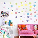 Echolife Gold Polka Dot Wall Decals - Removable Gold Metallic Vinyl Wall Decal Round Circle Dots for Kids Grils Boys Nursery Room Bedroom Living Room (Colorful)