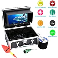 MAOTEWANG 30M Cable HD 1000tvl Underwater Fishing Video Camera Aluminum alloy 165 Degrees Kit 6 PCS LED Lights with7 Inch Color Monitor
