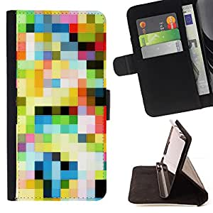 DEVIL CASE - FOR Samsung Galaxy S3 Mini I8190Samsung Galaxy S3 Mini I8190 - Pattern Old Tv Colorful Squares Wallpaper - Style PU Leather Case Wallet Flip Stand Flap Closure Cover