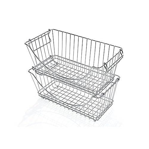 PRO-MART DAZZ Medium Stacking Baskets Chrome Set of 2  sc 1 st  Amazon.com & Chest Freezer Organizer: Amazon.com