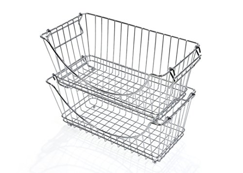 PRO-MART DAZZ Medium Stacking Baskets, Chrome, Set of 2 (Wire Vegetable Basket)