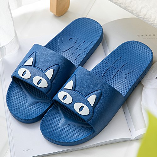 Lovely Blue Bathroom with Slippers 44 43 Cat Home Bath Home Dark and Anti Couples Indoor Slip White Male Summer Women Summer fankou Cool Cartoon Slippers 8qA141
