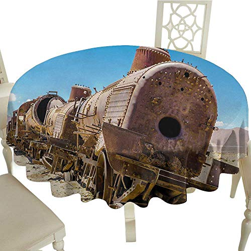 ecloth Vintage,Rusty Old Abandoned Steam Train Locomotive Cemetery Railroad Wreck Picture Print,Blue Brown D50,for Party ()