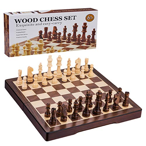 Wooden Chess Set, 15-Inch Standard Wooden Handmade Chess with Folding Classical Chess Board, for Kids and Adults ()