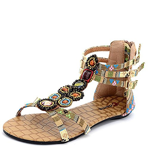 Gloria JR - Sandalias de vestir de tela para mujer Beige