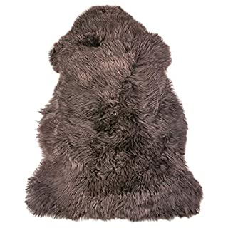 Natural Milan Thick and Lush 2.5 inch Pile Anti-Skid Backing Hypo-Allergenic Premium Quality Luxury New Zealand Shearling 2 x 3 ft Sheepskin Area Rug Throw Single Pelt, Chocolate