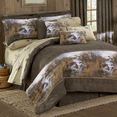 Duck Approach - 9 Pc Queen Comforter Set (1 Comforter, 1 Flat Sheet, 1 Fitted Sheet, 2 Pillow Cases, 2 Shams, 1 Square Accent Pillow, 1 Bedskirt) SAVE BIG ON BUNDLING!