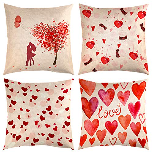 TUPARKA 4 Pcs Mother's Day Throw Pillow Covers Mother's Day Gift Linen Pillow Case Cover 18 x 18 Inch Home Cushion Decoration ()