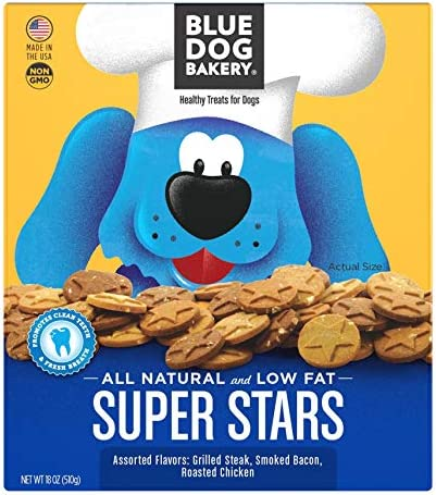 Blue Dog Bakery Natural Dog Treats, Super Stars, 18oz Pack of 6